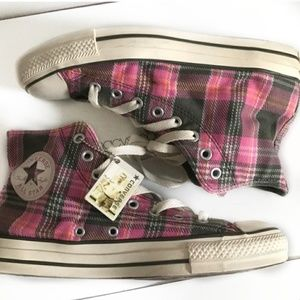 Converse // Pink and Green Plaid High Top Converse